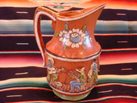 Mexican vintage pottery and ceramics, a wonderful pottery pulque pitcher from Tlaquepaque, Jalisco, c. 1930's. Another view of the musicians on the side of the pitcher.