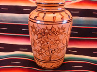 Mexican vintage pottery and ceramics, a beautiful vase with lovely floral designs, from Tlaquepaque, Jalisco, c. 1940's. Main photo of the vase.