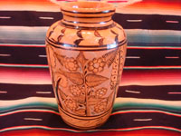 Mexican vintage pottery and ceramics, a beautiful vase with lovely floral designs, from Tlaquepaque, Jalisco, c. 1940's. Another side of the Tlaquepaque pottery vase.