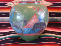 Mexican vintage pottery and ceramics, a beautiful burnished, green pottery olla with incredibly wonderful scenes, Tonala, Jalisco, c. 1930's. The scenes feature a campesino and his burro. Another view of the olla or vase.