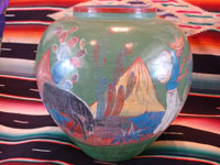 Mexican vintage pottery and ceramics, a beautiful burnished, green pottery olla with incredibly wonderful scenes, Tonala, Jalisco, c. 1930's. The scenes feature a campesino and his burro. Another side of the olla.