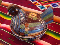 Mexican vintage pottery and ceramics, and Mexican vintage folk-art, a black-ware lidded casserole in the form of a lovely nesting hen, Tlaquepaque or Tonala, Jalisco, c. 1940. Main photo.