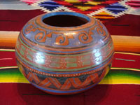 Mexican vintage pottery and ceramics, a wonderful burnished bowl from Tonala, Jalisco, c. 1930's. The burnished bowl has wonderful, hand-painted geometric decorations and is attributed to the great master, Ladislao Ortega. Main photo of bowl.