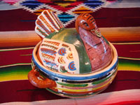Mexican vintage pottery and ceramics, and Mexican vintage folk-art, a wonderful lidded casserole in the shape of a nesting turkey, Tonala or Tlaquepaque, Jalisco, c. 1940's. Main photo.