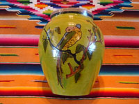 Mexican vintage pottery and ceramics, a beautiful pottery vase with fine artwork scenes on either side, and a wonderful green background, Tlaquepaque or Tonala, Jalisco, c. 1930's. Main photo of the vase.