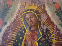 Mexican vintage tin-work art, and Mexican vintage devotional art, a lovely retablo painted on tin, depicting Our Lady of Guadalupe, Mexico, c. early 20th century.  Another closeup photo of Our Lady's face.