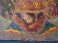 Mexican vintage tin-work art, and Mexican vintage devotional art, a lovely retablo painted on tin, depicting Our Lady of Guadalupe, Mexico, c. early 20th century.  Another closeup photo of the angel.