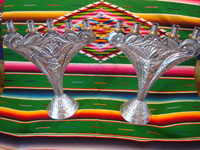 Mexican vintage tin-work art, a pair of tin candleholders with very fine stamping and bump-out work, Mexico, c. 1960's. Main photo.