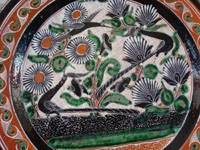 Mexican vintage pottery and ceramics, a large petatillo plate with very fine and detailed cross-hatching in the background and wonderful artwork, signed Jose Bernabe, Tonala or Tlaquepaque, Jalisco, c. 1940-50's. Closeup photo of the front of the Tonala pottery plate.