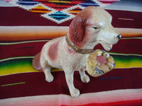 Mexican vintage folk art, and Mexican vintage pottery and ceramics, a wonderful piggy bank in the form of a delightful dog, by the famous Mexican folk artist Julian Acero, Tonala, Jalisco, c. 1930's. Main photo.