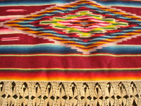 Mexican vintage textiles and serapes, a lovely Saltillo style serape with the deshilado (pulled strings) bands with lovely tenerife work, c. 1930's. Closeup photo of another part of the front of the runner.