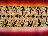 Mexican vintage textiles and serapes, a lovely Saltillo style serape with the deshilado (pulled strings) bands with lovely tenerife work, c. 1930's. Closeup photo of some of the lacework bands of the Saltillo runner.
