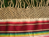 Mexican vintage textiles and serapes, a lovely Saltillo style serape with the deshilado (pulled strings) bands with lovely tenerife work, c. 1930's. Closeup photo of one end of the runner, showing the very fine lacework fringe.