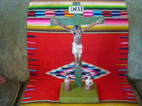 Mexican vintage devotional art, and Mexican vintage woodcarvings and masks, a very beautiful Animas Cross (a carving of the crucified Christ with two souls in purgatory near the base), c. 1930.  Main photo of the Animas Cross.