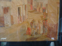 Mexican vintage straw-art (popote art or popotillo), a beautiful straw-art picture of a street scene, with wonderful people dressed in beautiful traditional clothing, by the famous F.I. Olay (Felipe Olay), Mexico City, c. 1940. Another closeup photo showing the people gathered in the street.