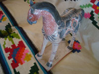 Mexican vintage folk art, and Mexican vintage pottery and ceramics, a lovely burnished pottery horse with beautiful hand-painted decorations, Tonala, c. 1950's. Main photo of the pottery horse.