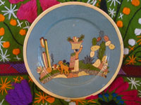 Mexican vintage pottery and ceramics, a beautiful pottery plate with a wonderful scene of rural Mexican life, attributed to the great Balbino Lucano, Tonala or San Pedro Tlaquepaque, c. 1930's. Main photo of the plate.