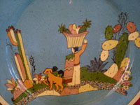 Mexican vintage pottery and ceramics, a beautiful pottery plate with a wonderful scene of rural Mexican life, attributed to the great Balbino Lucano, Tonala or San Pedro Tlaquepaque, c. 1930's. Closeup photo of the scene on the front of the plate.