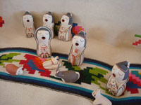 Native American Indian vintage pottery and ceramics, and Native American Indian vintage folk art, a wonderful 10-piece nativity set by Anita F. Toya, Jemez Pueblo, New Mexico, c. 1980's.  Main photo of the 10-piece nativity set.