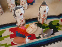 Native American Indian vintage pottery and ceramics, and Native American Indian vintage folk art, a wonderful 10-piece nativity set by Anita F. Toya, Jemez Pueblo, New Mexico, c. 1980's.  A closeup photo of the Holy Family.