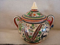 Mexican vintage pottery and ceramics, a beautiful lidded jar with very fine petatillo cross-hatching in the background and wonderful artwork, signed Jose Bernabe, Tonala, Jalisco, c. 1940's.  Photo of the second side of the lidded jar by Jose Bernabe.