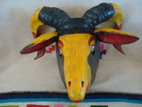 Mexican vintage woodcarvings and masks, and Mexican vintage folk art, a wonderful mask depicting the head of a ram, Mexico (possibly Michoacan), c. 1950's.  Main photo of the mask.