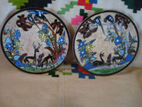 Mexican vintage pottery and ceramics, a very lovely pair of pottery plates with a fine petatillo cross-hatched background and very beautiful artwork, by Tomas Lucano, Tonala or San Pedro Tlaquepaque, Jalisco, c. 1930's.  Main photo of the pair of plates by Tomas Lucano.