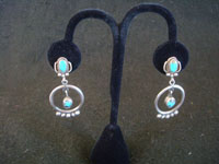 Native American Indian sterling silver jewelry, and Navajo vintage sterling silver jewelry, a wonderful pair of dangling sterling silver earrings with beautiful turquoise, Arizona or New Mexico, c. 1940's. Main photo of the Navajo silver earrings.