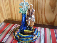Mexican vintage folk art, and Mexican vintage pottery and ceramics, a wonderful pottery sculpture depicting Padre Miguel Hidalgo, the father of the Mexican revolution of 1810, Oaxaca, c. 1930's.  Main photo of the sculpture.