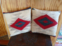 Native American Indian vintage textiles and weaving, and Navajo rugs and textiles, a beautiful pair of pillows made with a repurposed Navajo blanket, Arizona or New Mexico. Main photo of the pair of pillows.
