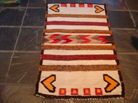 Native American Indian textile, Navajo weaving, double saddleblanket with hearts, c. 1930's.