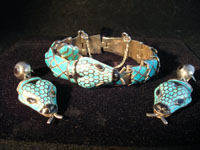 Mexican vintage silver jewelry, bracelet and earrings set in style of Margot de Taxco, c. 1950's.