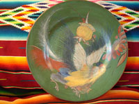 Mexican vintage pottery, Tonala charger with exotic bird, c. 1920.