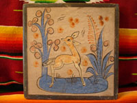 Mexican vintage pottery, Tonala tile with graceful deer, c. 1930.