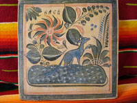 Mexican vintage pottery, Tonala tile with blue fox, 1940.