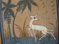 Closeup of Tlaquepaque tile showing white gazelle.