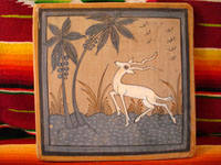 Mexican vintage pottery, Tonala burnished tile with beautiful gazelle, c. 1940.