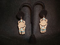 Mexican vintage silver jewelry, earrings with 20-peso coins and turquoise dangles, c. 1930.