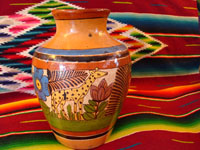 Mexican vintage pottery, Tlaquepaque vase with petatillo background and showing a giraffe and a lovely deer, c. 1930.