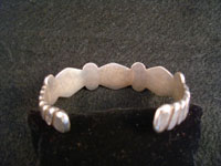 Photo shoing backside of Navajo silver bracelet.