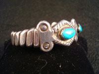Photo showing side view of Navajo silver bracelet.