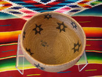 Native American Indian antique basket, closeup of Washo basket's inside.