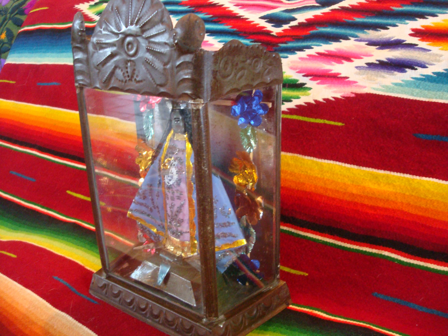 Mexican Vintage Devotional Art And Tin Work Art A Finely