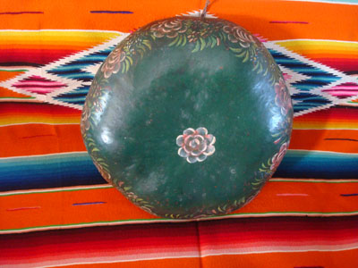 Mexican vintage folk art, a batea made from a laquered gourd and beautifully decorated, Chiapa de Corzo, Chiapas, c. 1950.