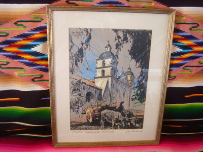 Vintage folk art and fine art, a beautiful print depicting the Santa Barbara Mission, with a wonderful ox-cart in front, signed and dated by Dan Masefield, c. 1930.