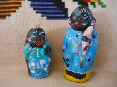 Mexican vintage folk art, and Mexican vintage pottery and ceramics, a pair of wonderful pottery bottles in the shapes of monkeys, with colorful decorations, Oaxaca, c. 1950's.