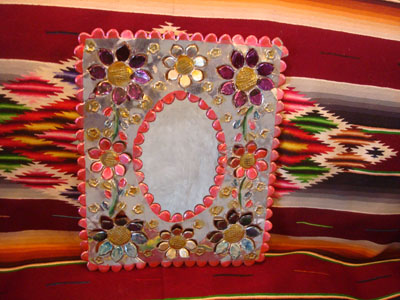 Mexican tinwork art, and Mexican folk art, a beautiful tinwork-art mirror with lovely colors, Oaxaca, c. 1980's.