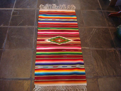 Mexican vintage textiles and Saltillo-style serapes (sarapes), a very fine Saltillo serape runner with beautiful color combinations and a wonderful silk center medallion, c. 1930's.