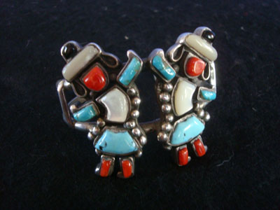 Naative American vintage sterling silver jewelry, and Zuni vintage silver jewelry, a beautiful Zuni bracelet with the figures of two Rainbow Men with turquois, mother-of-pearl, coral, and jet stones, New Mexico, c. 1940's.