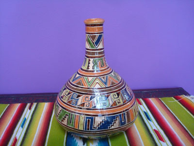 Mexican vintage pottery and ceramics, a very beautiful pottery water bottle with a lovely geometric